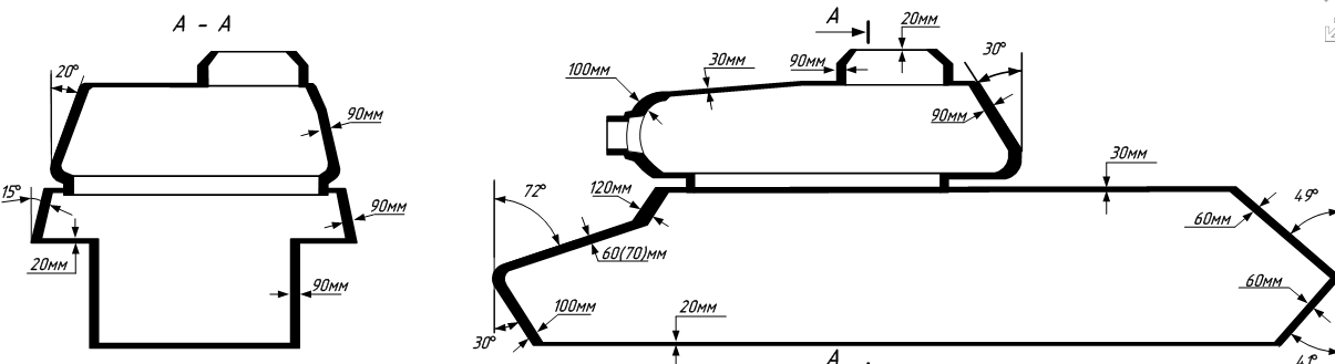 Вот схема бронирования ИС-2.